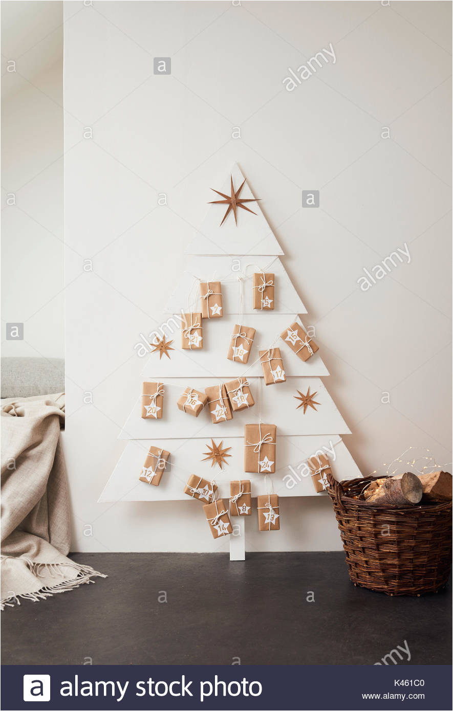 self made advent calendar still life christmas stock image