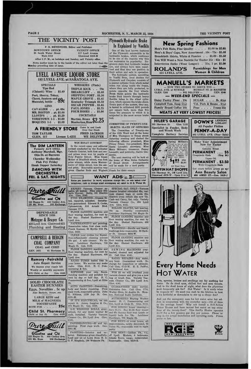page 2 rochester n y march 22 1934 the vicinity post the vicinity post
