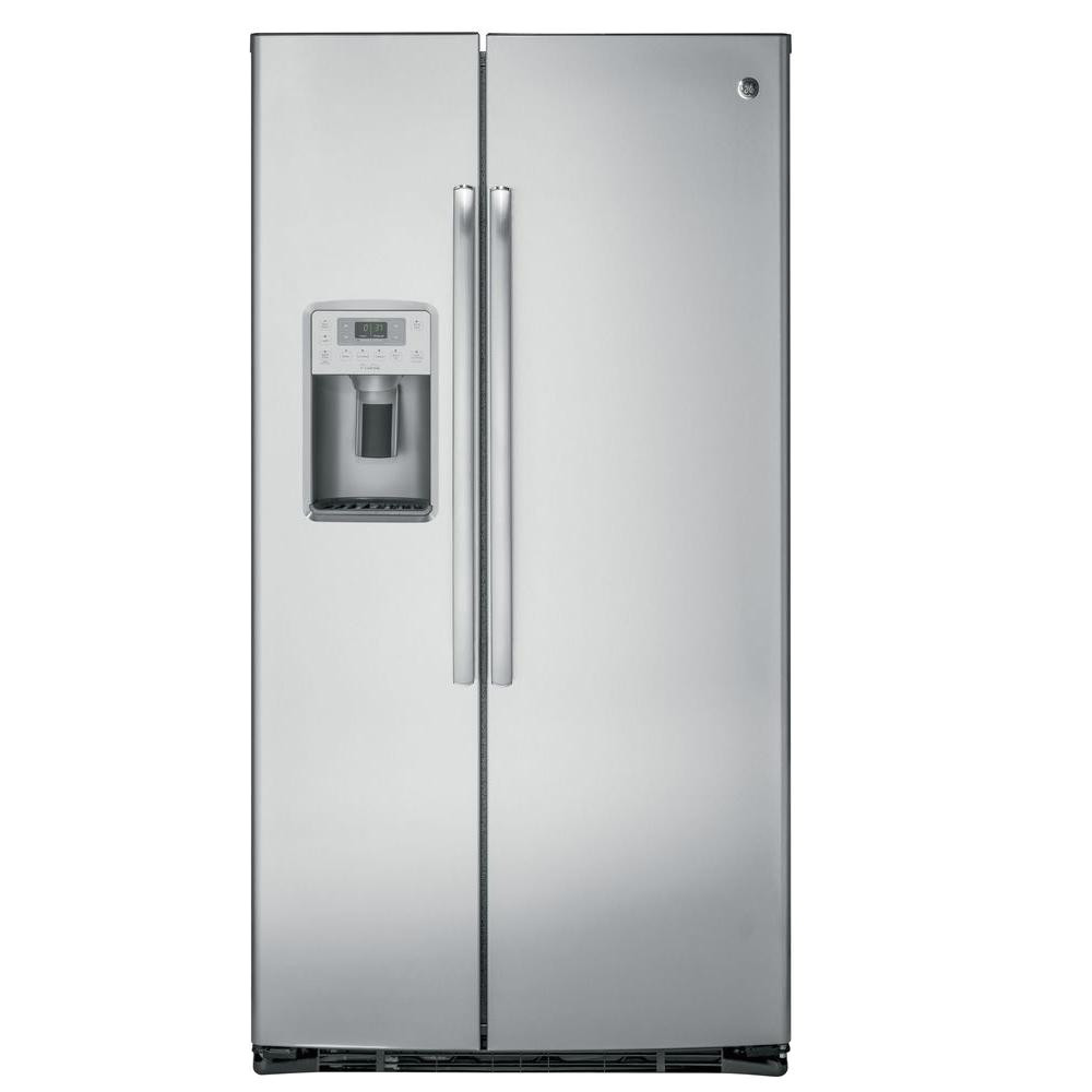 side by side refrigerator in stainless steel counter