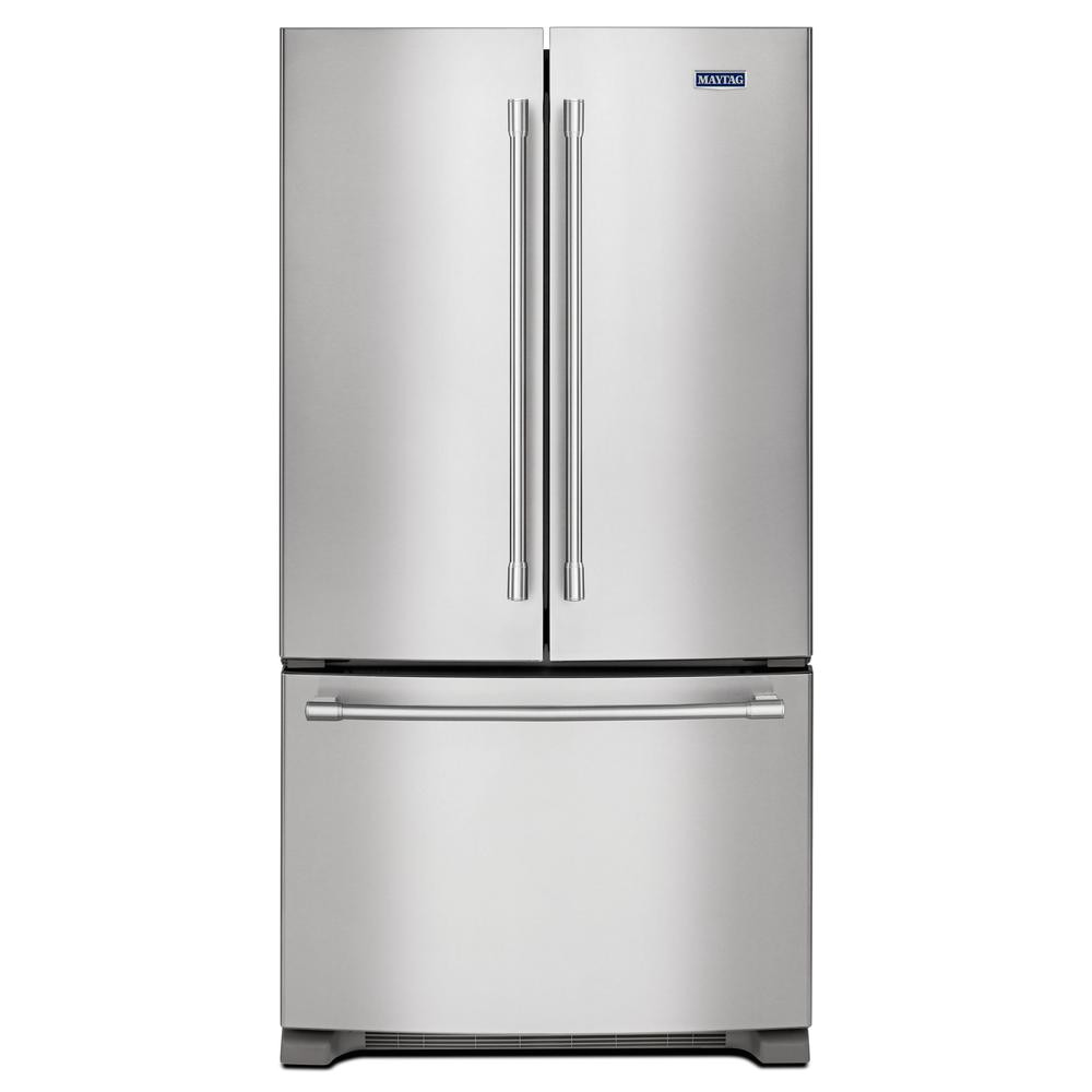 Used Black Counter Depth Refrigerator Maytag 25 Cu Ft French Door Refrigerator In Fingerprint Resistant