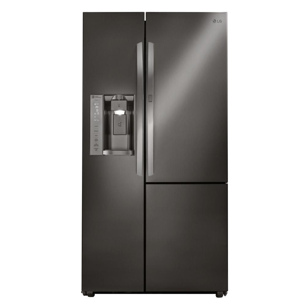 Used Black Counter Depth Refrigerator Whirlpool 21 Cu Ft Side by Side Refrigerator In Fingerprint