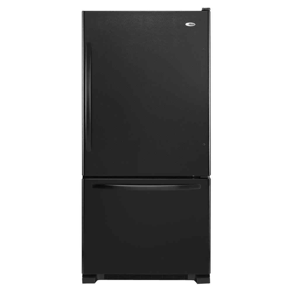 bottom freezer refrigerator in black
