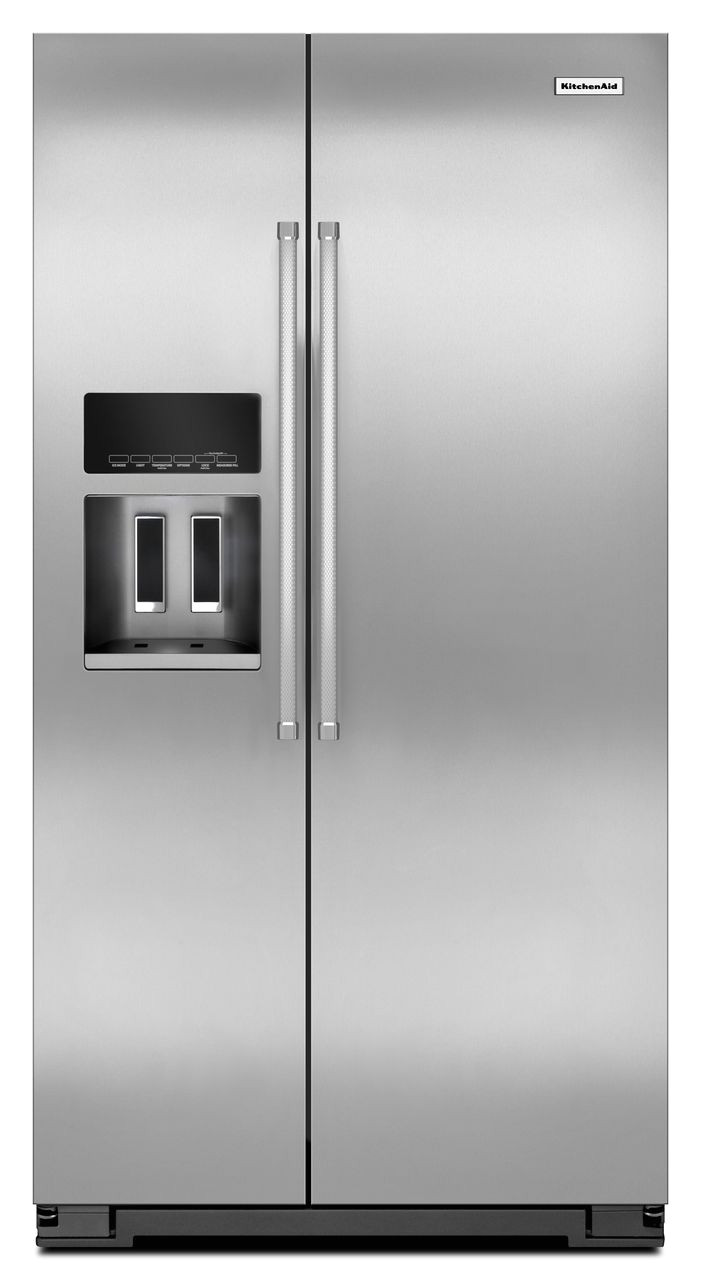 monochromatic stainless steel 22 7 cu ft counter depth side by side refrigerator with exterior ice and water krsc503ess kitchenaid