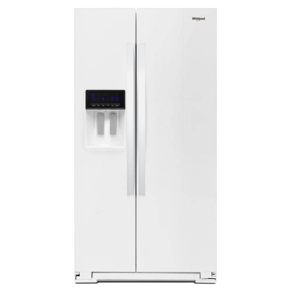 side by side refrigerator in white counter depth