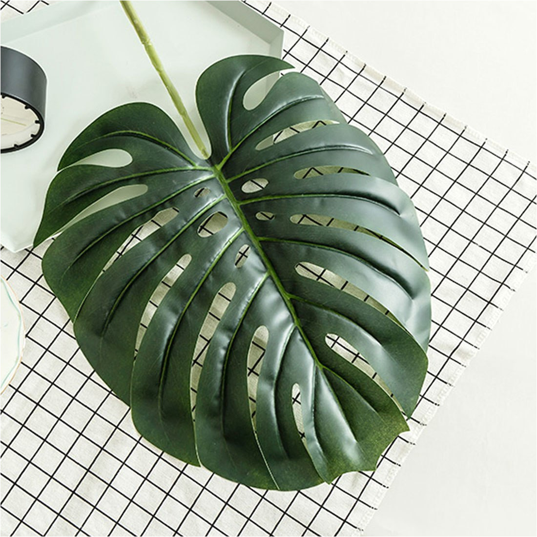 wedding favors 5 10 pcs large artificial fake monstera palm tree leaves green plastic leaf for photo booth decorative plants in artificial dried flowers
