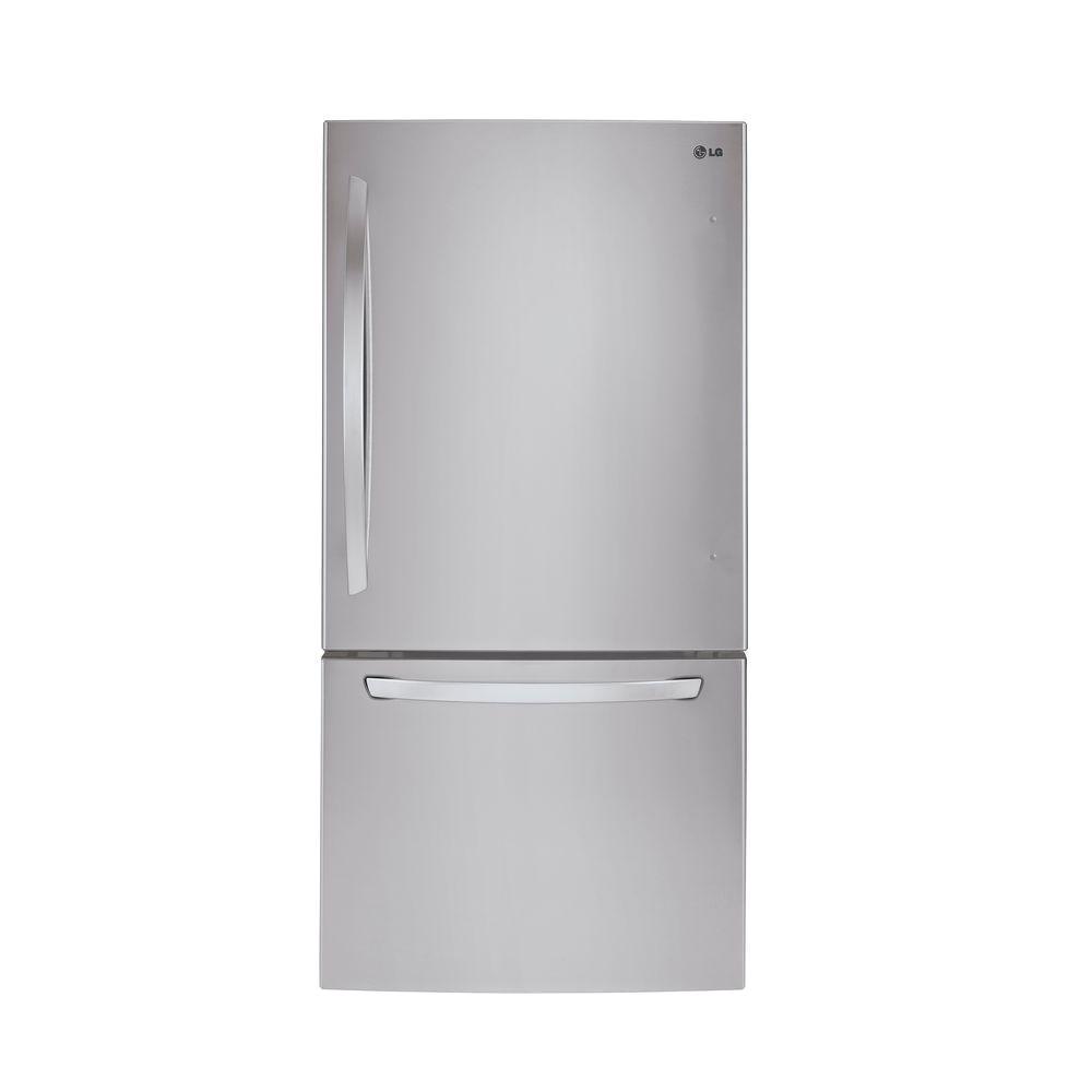 bottom freezer refrigerator in stainless steel