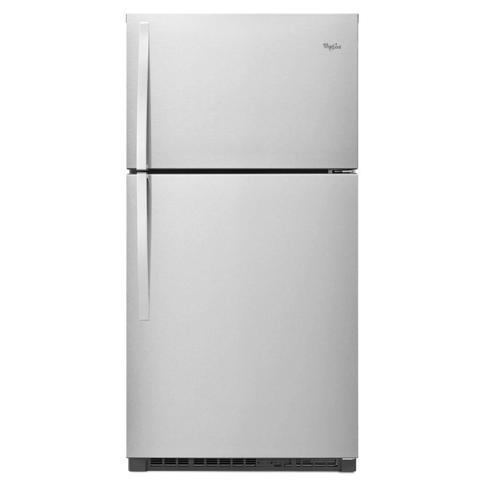 whirlpool 21 3 cu ft top freezer refrigerator in monochromatic stainless steel