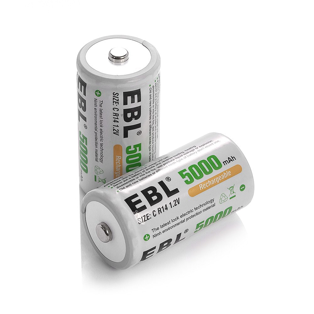 2pcs ebl 5000mah size c r14 ni mh replacement battery 1 2v rechargeable batteries for flashlight toys portable power in rechargeable batteries from consumer