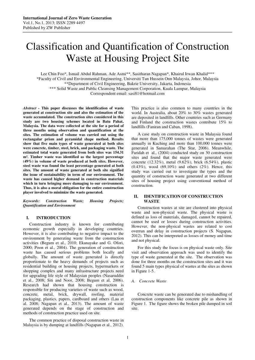 construction waste management plan template fresh pdf construction waste management malaysian perspective
