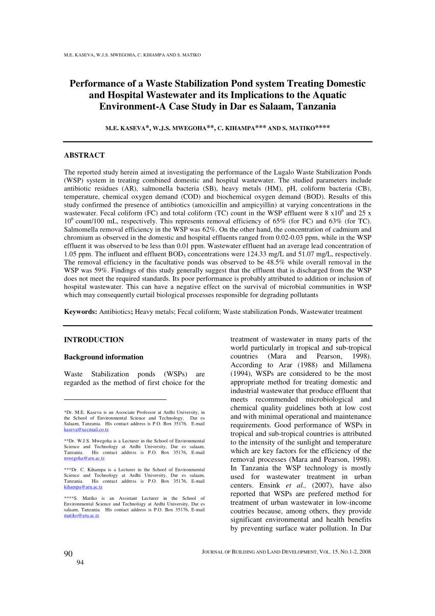 pdf effects of hospital wastewater on aquatic ecosystem