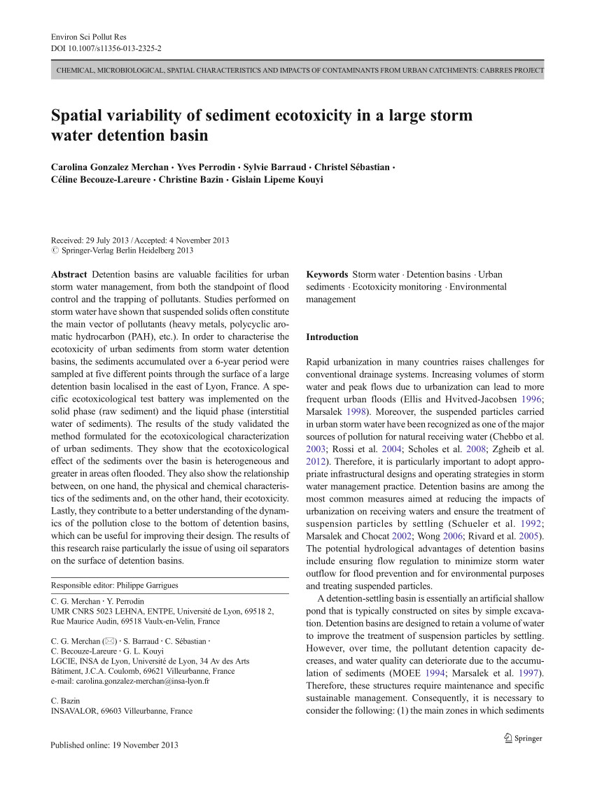 pdf spatial variability of sediment ecotoxicity in a large storm water detention basin
