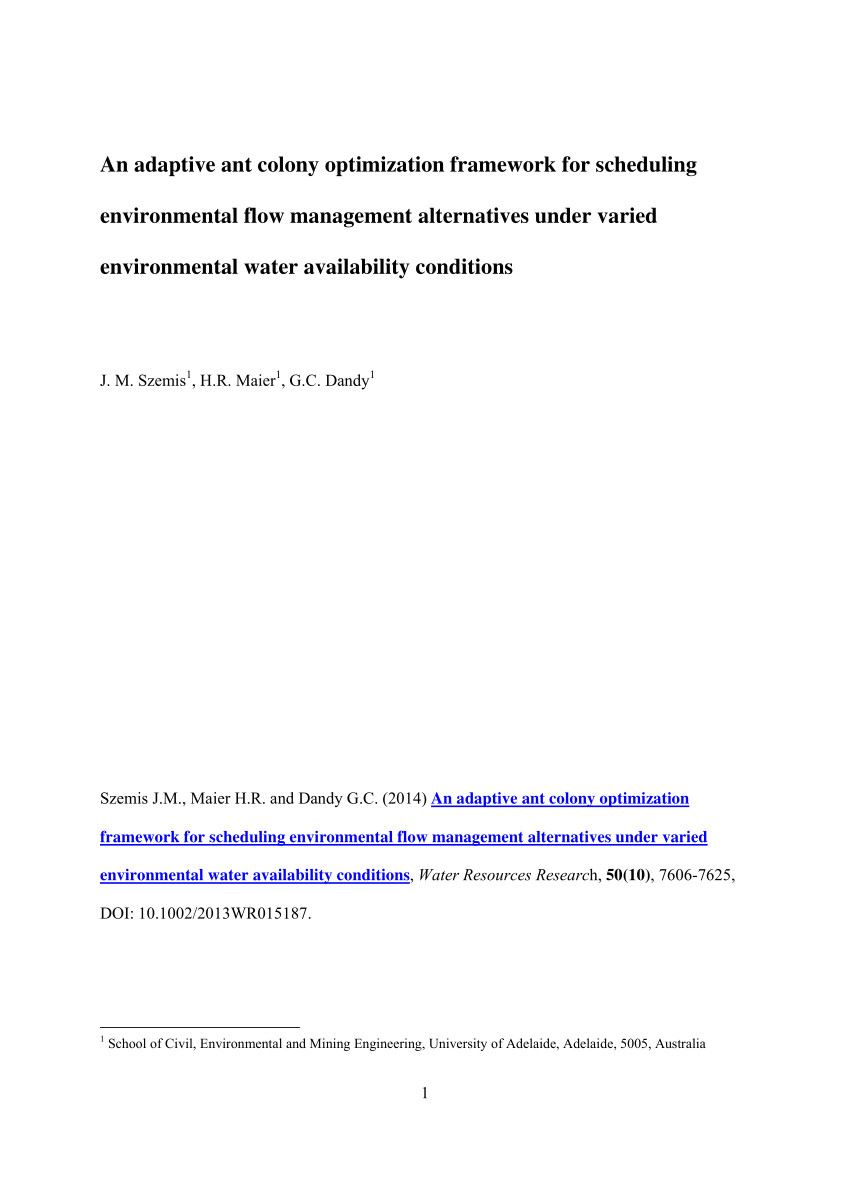 pdf an adaptive ant colony optimization framework for scheduling environmental flow management alternatives under varied environmental water availability