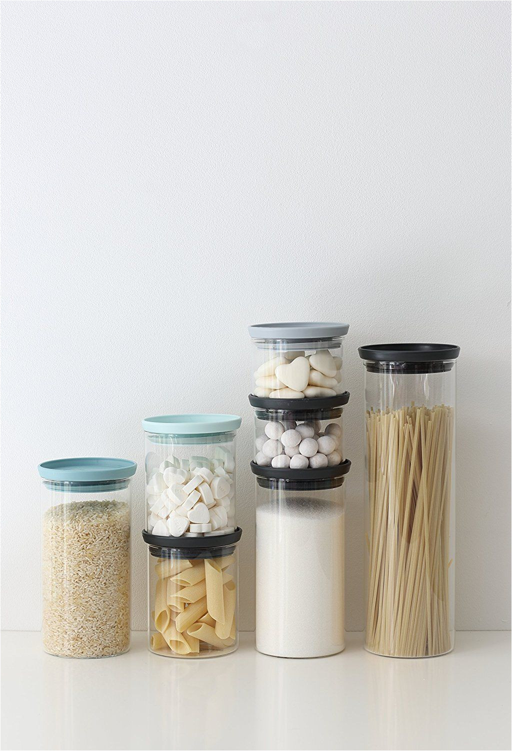 amazon com brabantia stackable glass food storage containers set of 3 kitchen dining