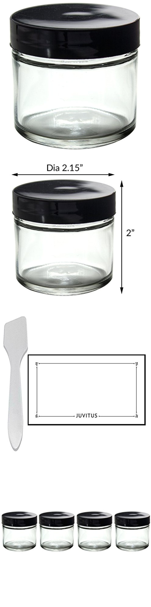 clear thick glass straight sided jars 2 oz 60 ml 4 pack spatulas and labels
