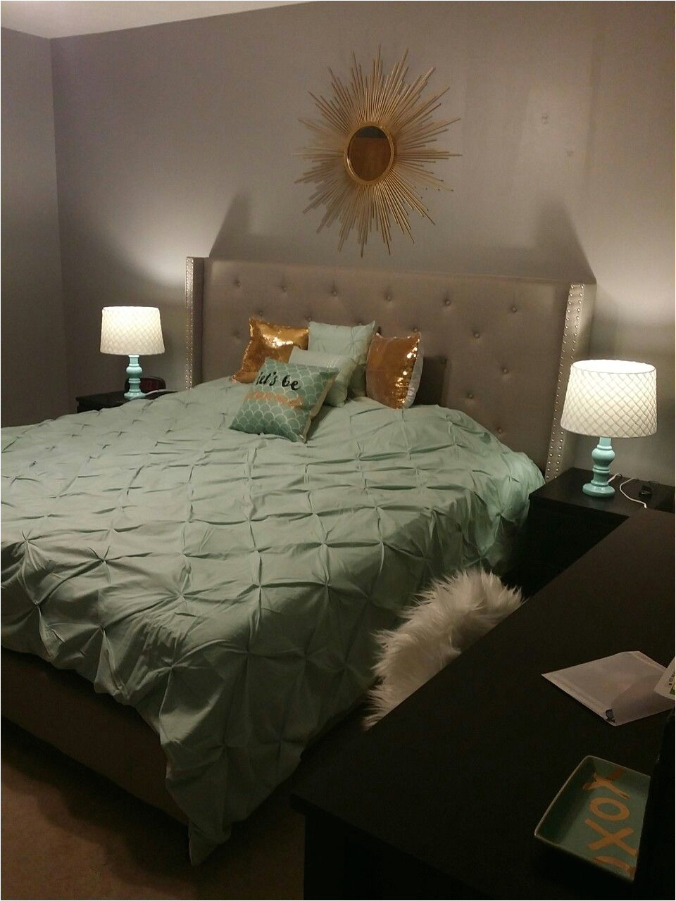 mint gold and grey bedroom blended neutral black and white into the color