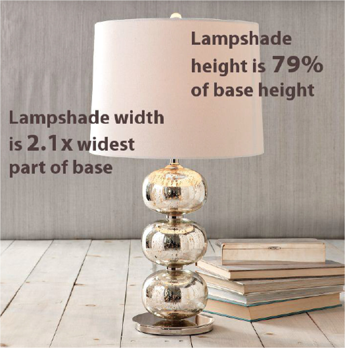for floor lamps the height of the shade should be between 30 and 50 of the height of the lamp base for example a floor lamp base that s 60 inches high