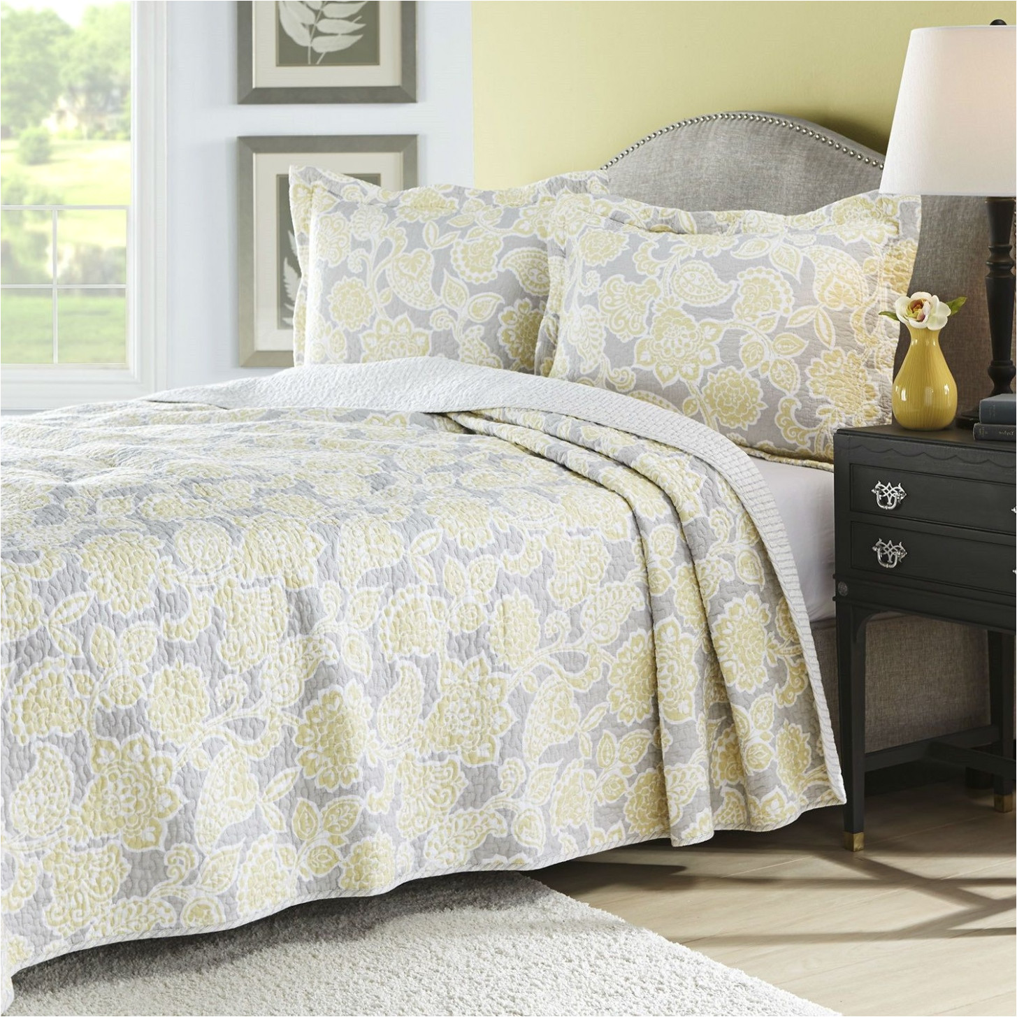coverlet vs bedspread full queen yellow gray floral cotton reversible quilt