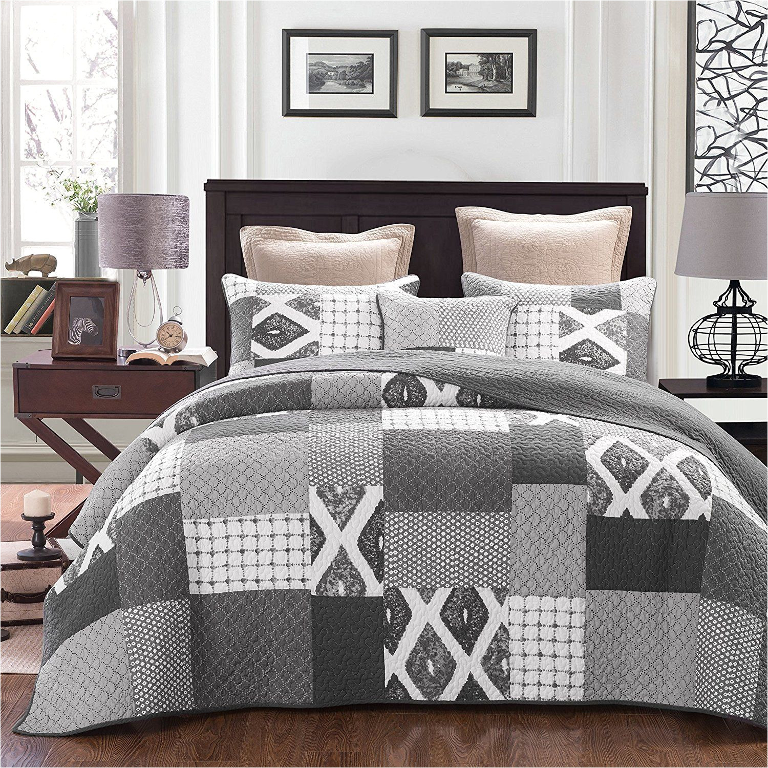 dada bedding classical shades of grey reversible cotton real patchwork quilted coverlet bedspread set