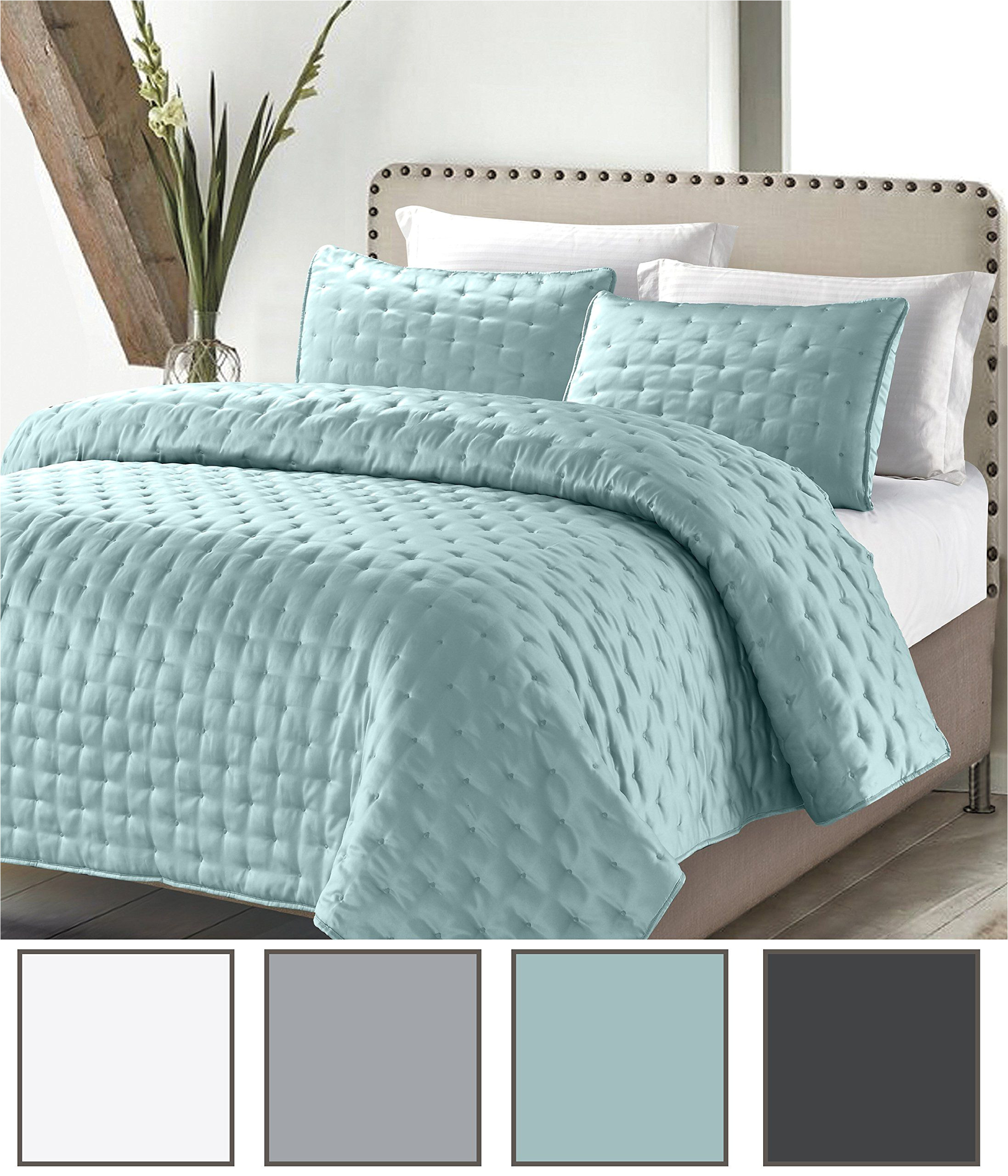 solid quilt set spa king size 4 piece coverlet set luxury hotel masterpiece finely stitched lightweight bedspread by california design den