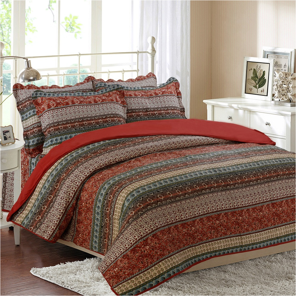 chausub vintage print quilt set 3pcs 4pcs cotton coverlet set bedspread bed sheets duvet cover quilted bedding set king size in bedding sets from home