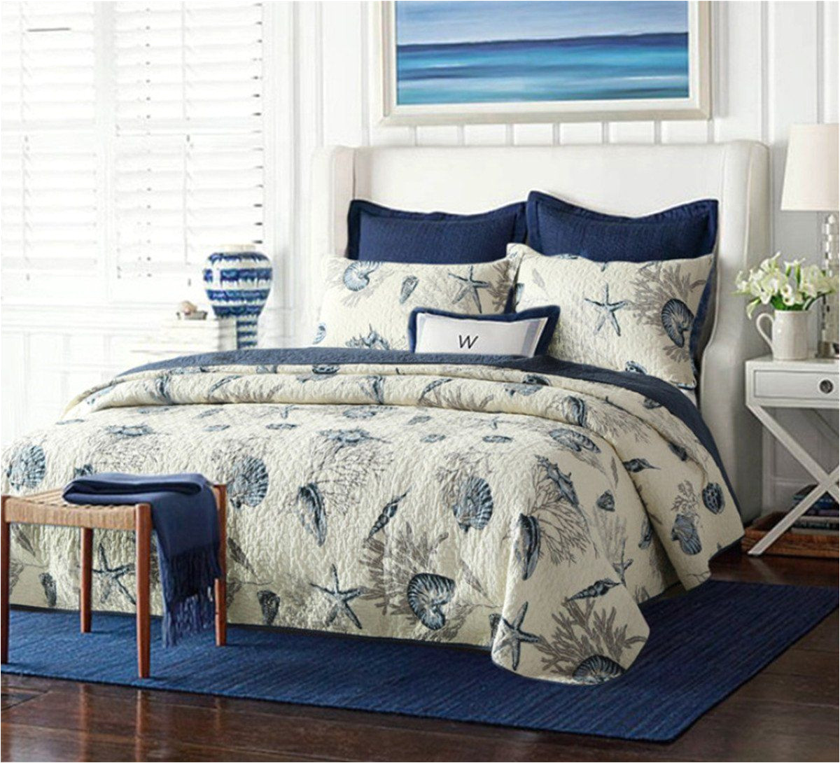 nautical queen quilt set 1 reversible bedspread and 2 pillowcases 100 cotton comfy navy