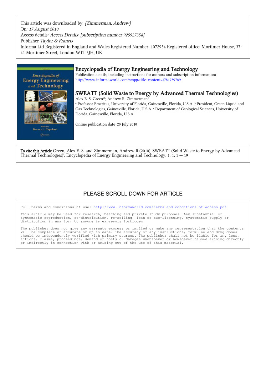 pdf sweatt solid waste to energy by advanced thermal technologies