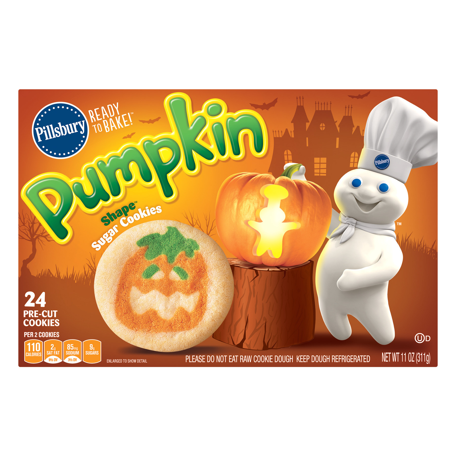 pillsbury ready to bake a pumpkin shapea sugar cookies 11 0 oz walmart com