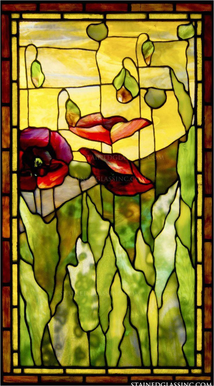 poppies tiffany stained glass window