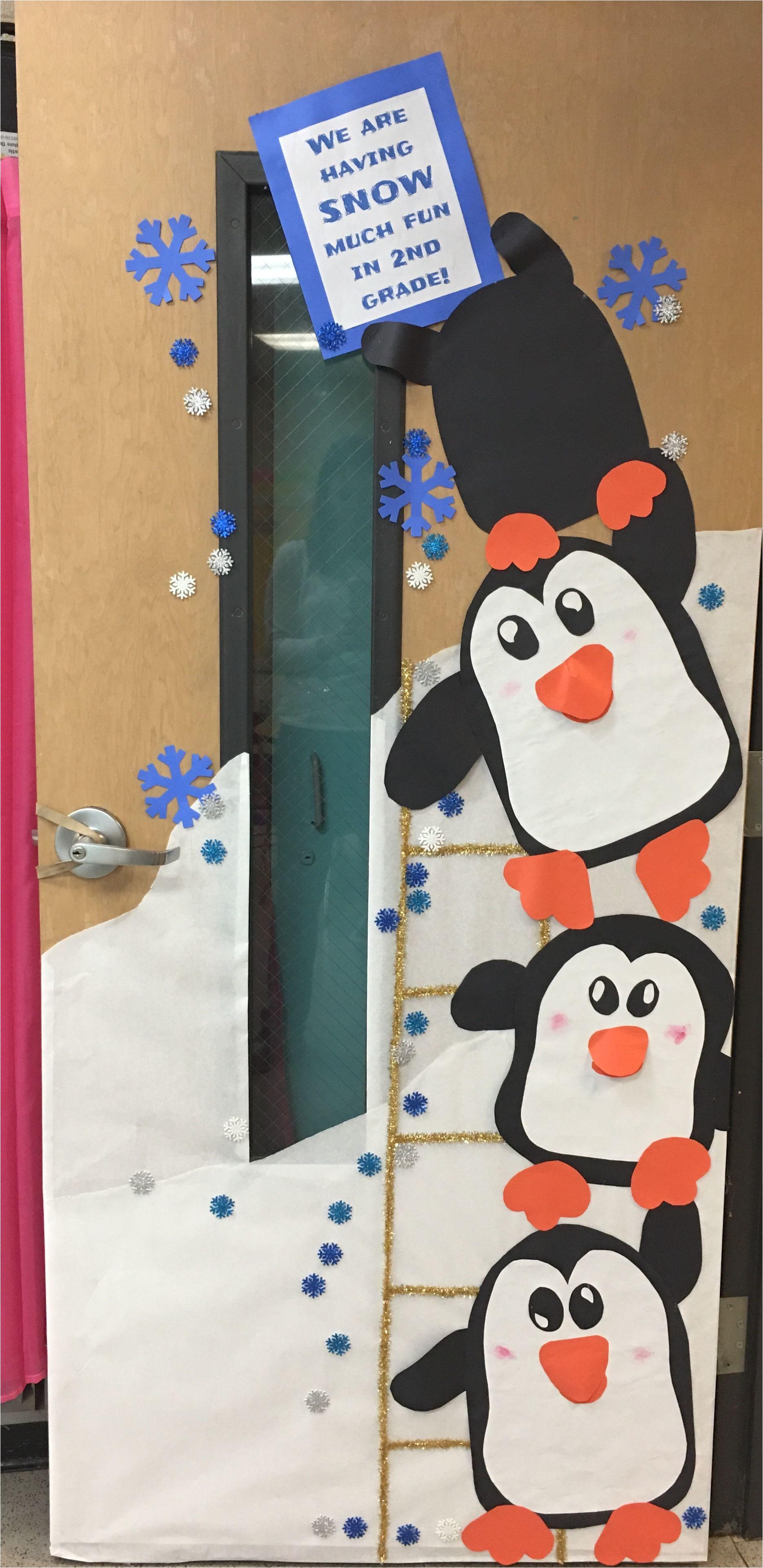 penguin winter classroom door decorating kindergarten door preschool door school door decorations christmas