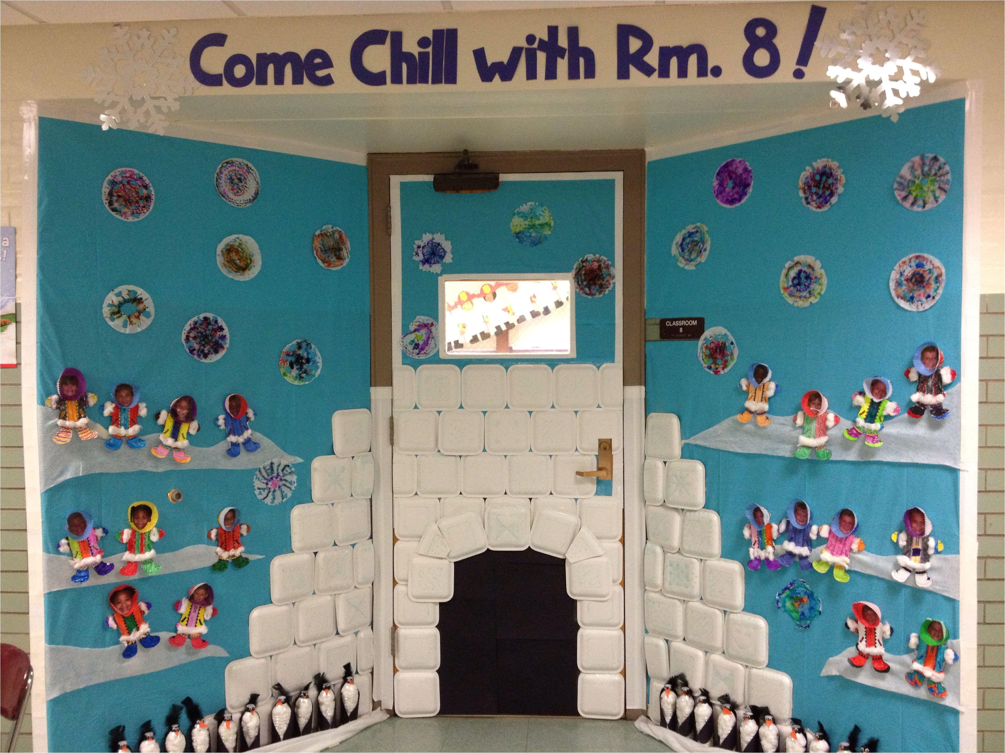 Winter Door Decorations for Elementary School Winter Door Decorating Igloo Eskimos Penguin Craft Come Chill