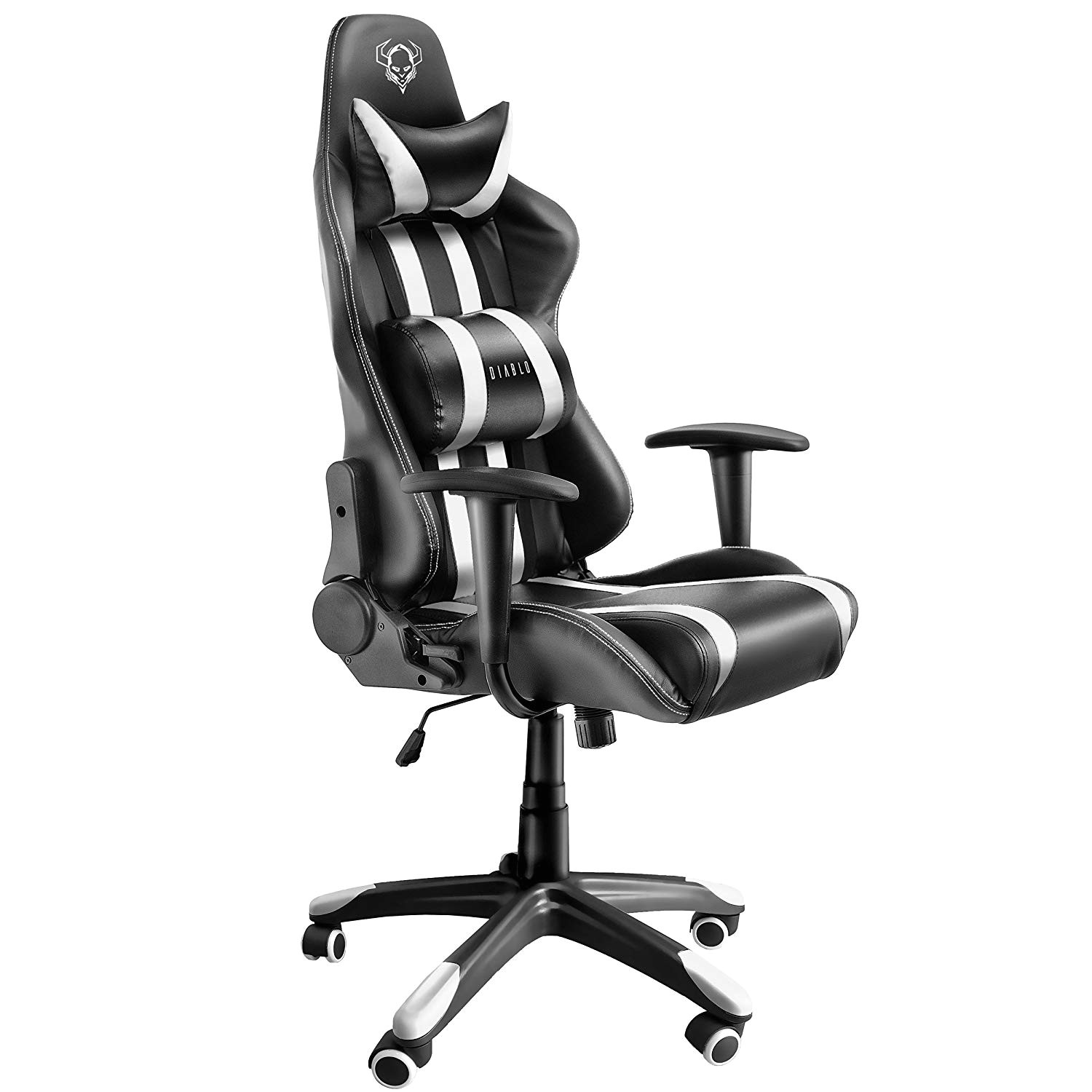 diablo x one gaming office chair lumbar cushions tilt function leatherette color selection black white 51 x 75 x 129 cm amazon co uk kitchen home