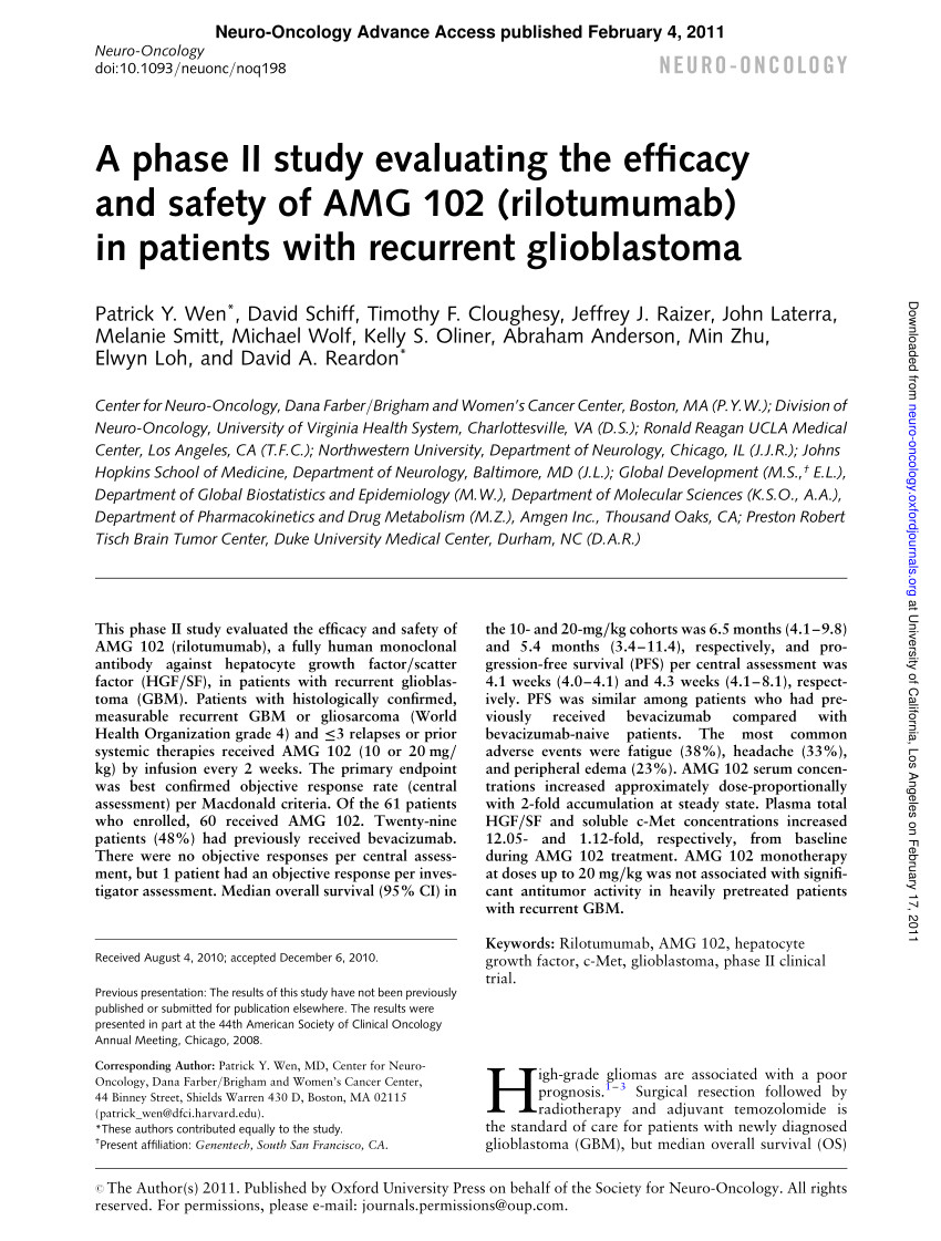 pdf biological markers of recurrence and survival of high grade gliomas the role of hepatocyte growth factor