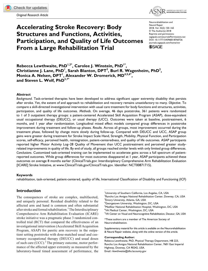 pdf interdisciplinary comprehensive arm rehabilitation evaluation icare a randomized controlled trial protocol