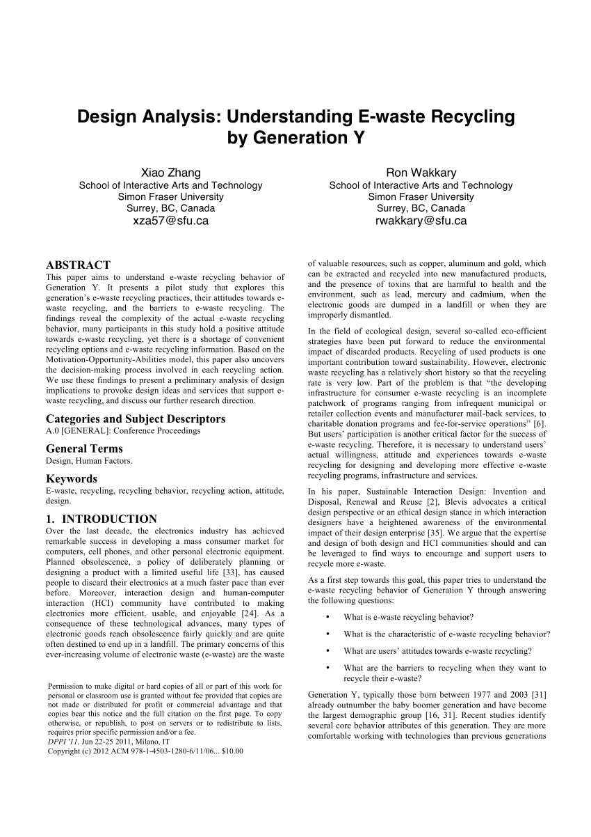 pdf design analysis understanding e waste recycling by generation y