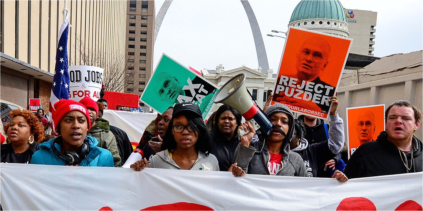 st louis mo february 13 protesters walk to a hardee s restaurant during a