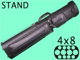 4×8 Hard Pool Cue Case Billiard Pool Cue Sticks aska C48p06 Black with Stand