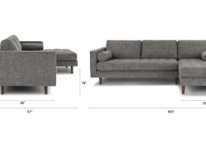 90 Inch Sectional sofa with Chaise Gray Right Sectional sofa Tufted Article Sven Modern Furniture