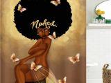 Afro American Bathroom Sets Afro Hair Fashion Girl Have A Bath Shower Curtain Coffee