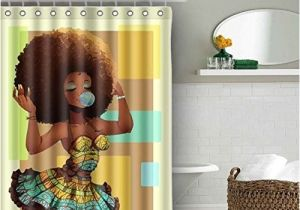 Afro American Bathroom Sets Authentic Afro Shower Curtain Waterproof Baixin Black
