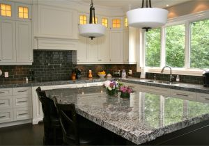 Alaska White Granite with Gray Cabinets Lennon Granite Completed with Gray Subway Tiles and Cupboard Back
