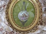 Antique Oval Picture Frames Bubble Glass Reduced Vtg Gold Gesso Framed Porcelain Fragonard Style Young Lovers