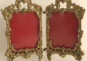 Antique Oval Picture Frames with Bubble Glass Antique French Rococo Style ornate Gold Color Brass Hinged Double
