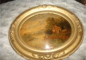 Antique Oval Picture Frames with Bubble Glass Clearnce Sale Antique Miniature Oval Painting Under Convex Glass