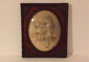 Antique Oval Picture Frames with Bubble Glass Vintage Child Baby Print Picture with Oval Convex Glass Bubble
