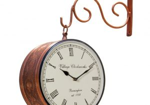 Battery Operated Grandfather Clock Works Double Sided Railway Station Analog Wall Clock