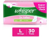 Best Sanitary Pads for after Delivery Whisper Ultra soft Large Sanitary Pads 284mm 30 Count Buy Whisper