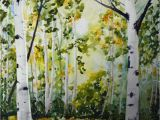 Best Trees for Colorado Landscape Art Watercolor aspen Tree Painting original Landscape