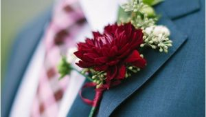 Burgundy Corsage and Boutonniere Boutonniere with Burgundy Dahlia and Seeded Eucalyptus