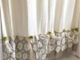 Burlap Shower Curtain with Lace Burlap Ruffle Shower Curtain Natural Cream Cotton by