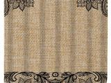 Burlap Shower Curtain with Lace Floral and Lace Burlap Shower Curtain Black Lace by